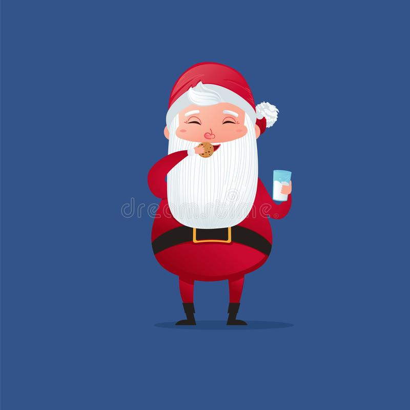 Happy a christmas character cute santa claus. Eat sweet cookie and drinks milk. stock illustration