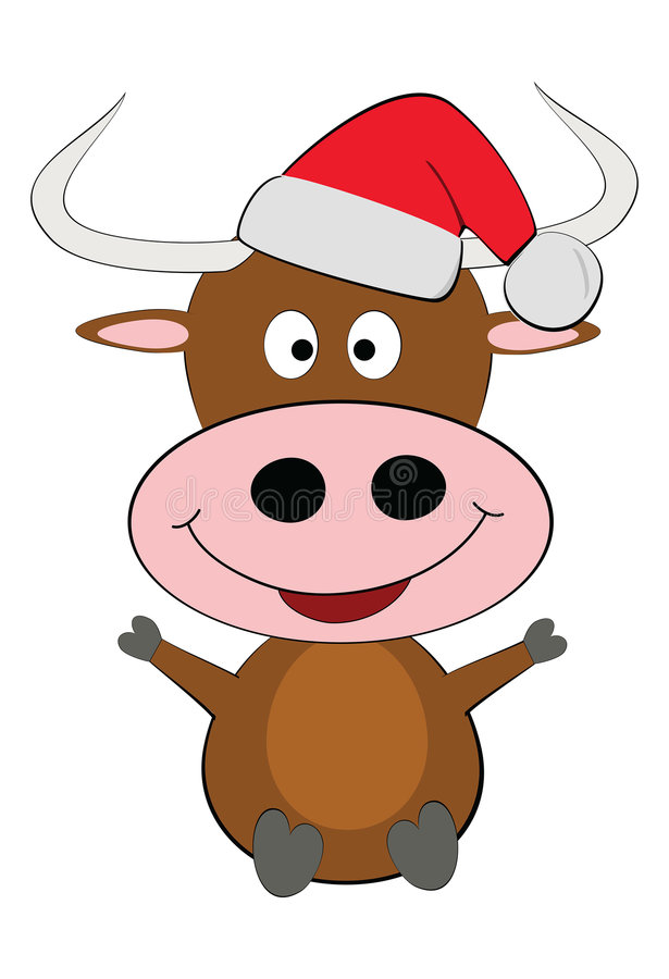 Happy Christmas Cow Vector Stock Photography