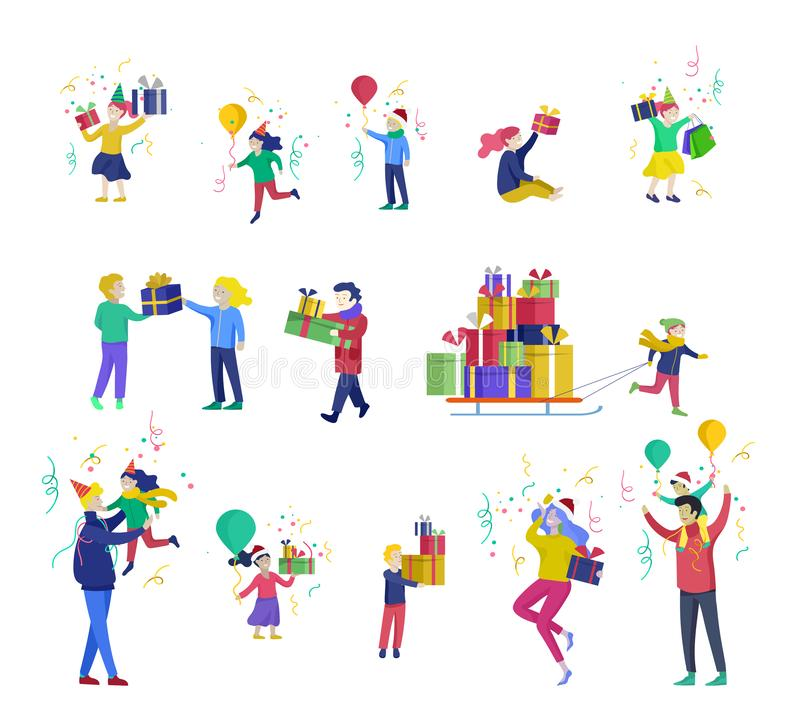 Happy Christmas Day Celebrating together happy. Group of cartoon people in Santa hats and children. Jump and throw gift stock illustration
