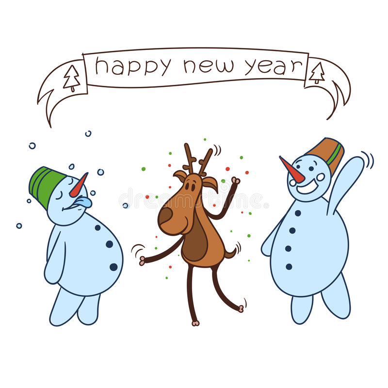 Happy christmas deer stock illustration