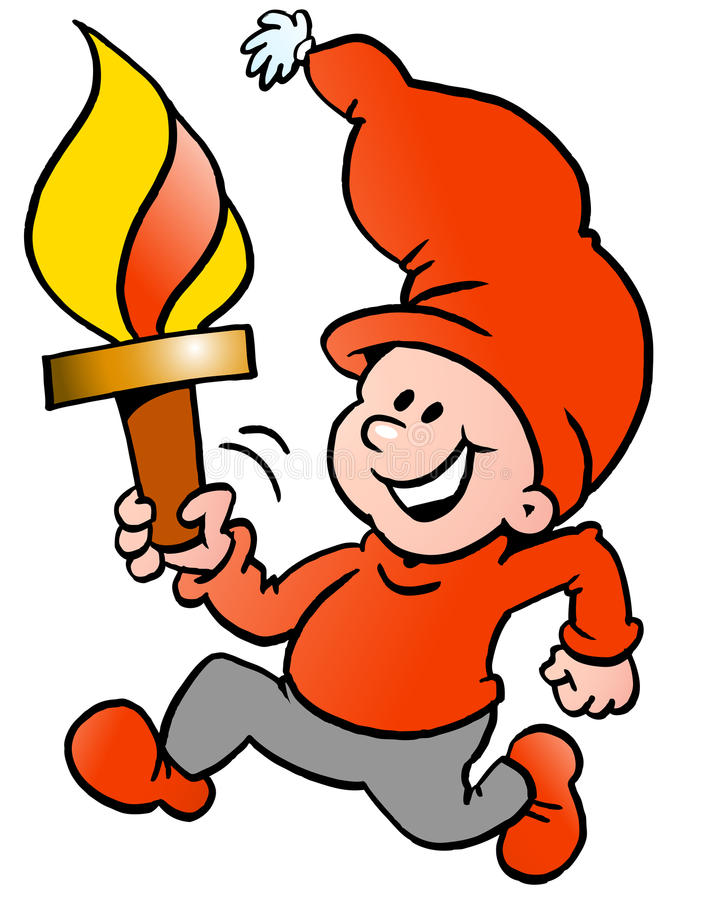 Free Happy Christmas Elf Running With A Torch Flame Stock Image - 46401331