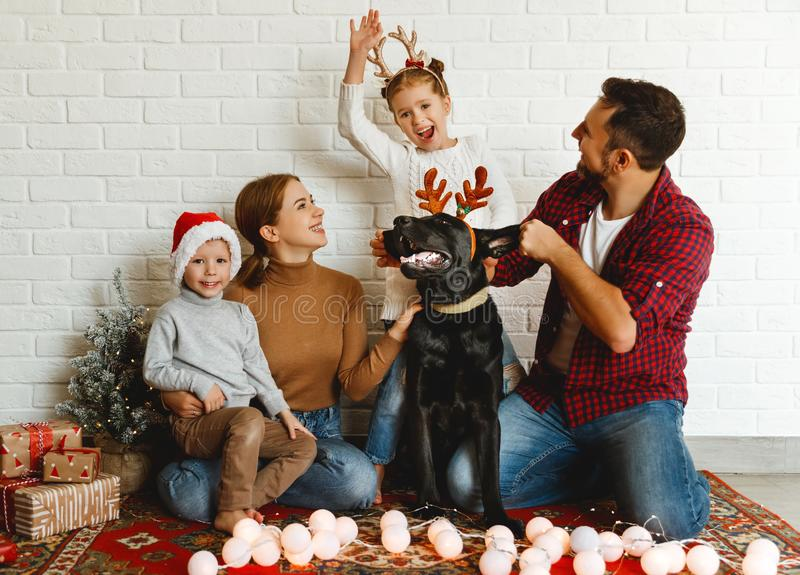 Happy Christmas! family mother father and kids with dog before Christmas with garland   and tree stock image