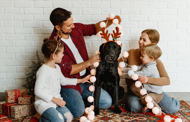Happy Christmas! family mother father and kids with dog before Christmas with garland   and tree royalty free stock image