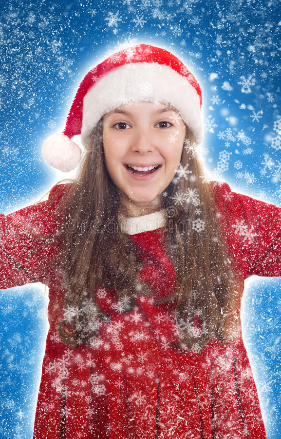 Download Happy Christmas Girl With Snowflakes Stock Photo - Image: 28179618