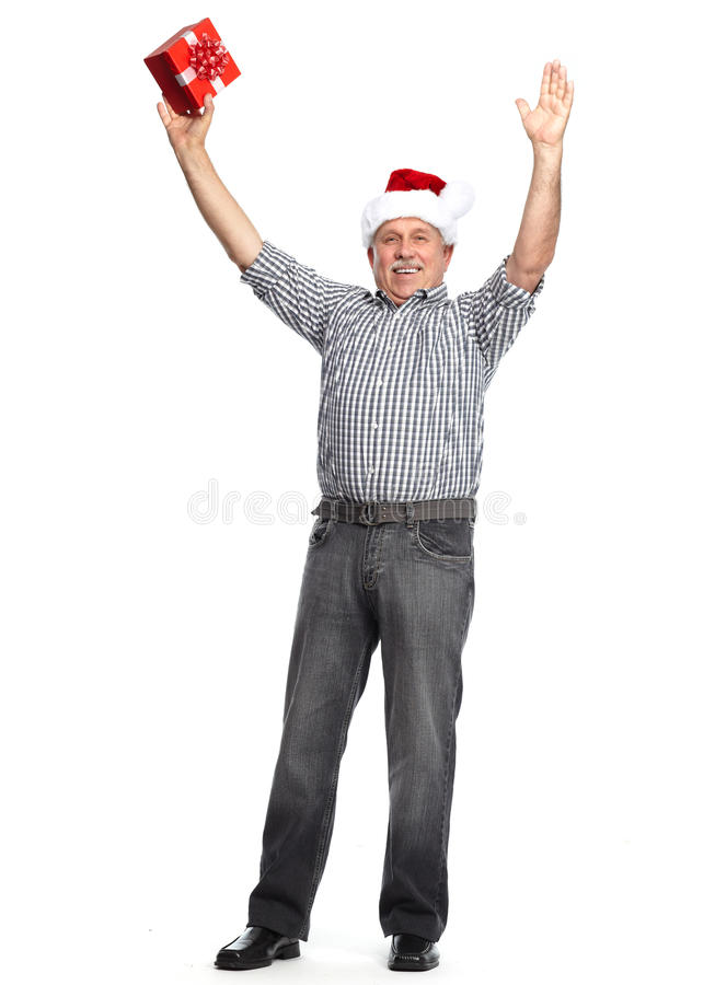 Happy Christmas man with xmas gift. stock photos