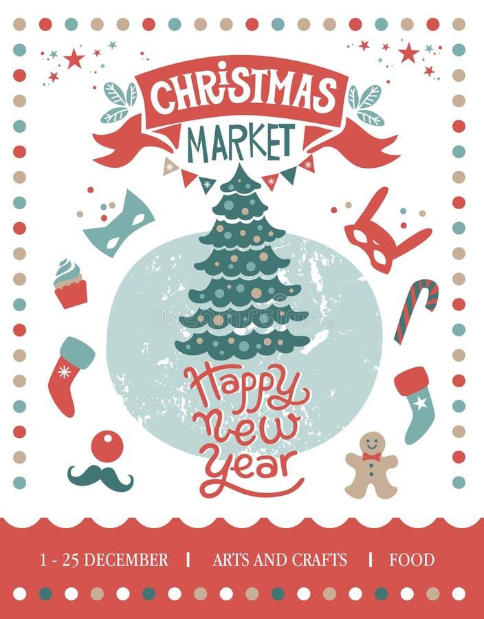 Christmas market illustration vector illustration