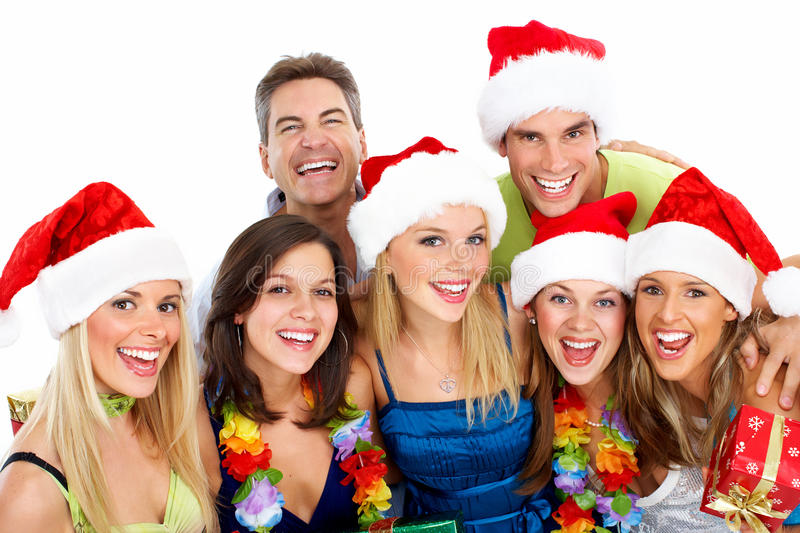 Happy Christmas people group. stock images