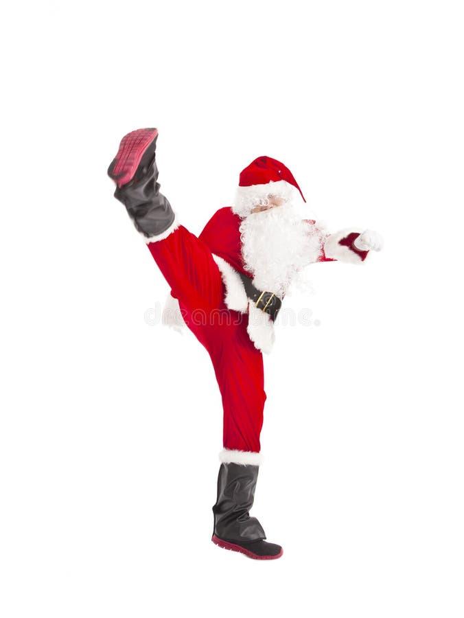 Happy Christmas Santa Claus dancing. Isolated royalty free stock photos