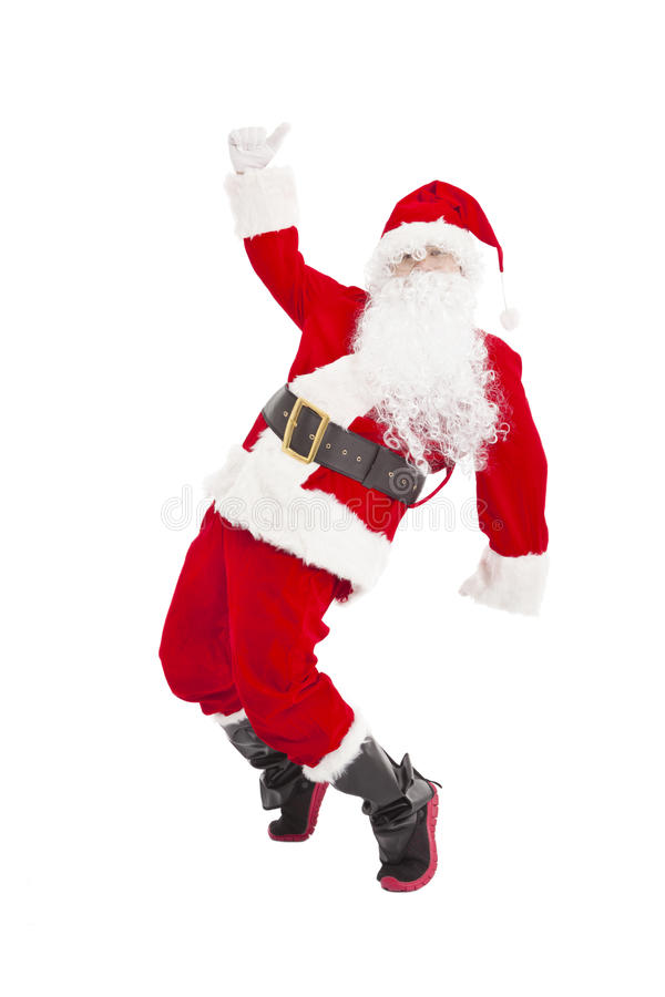 Happy Christmas Santa Claus dancing. Isolated stock images
