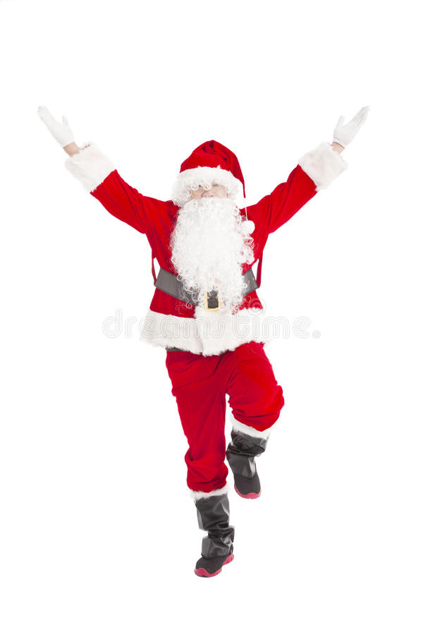 Happy Christmas Santa Claus dancing. Isolated royalty free stock image