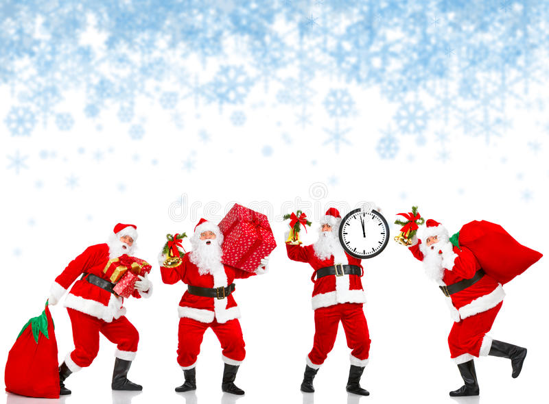 Happy Christmas Santas stock photo