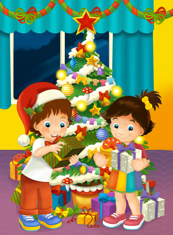 Happy christmas scene with brother and sister taking presents. Happy and funny traditional illustration for children - scene for different usage royalty free illustration