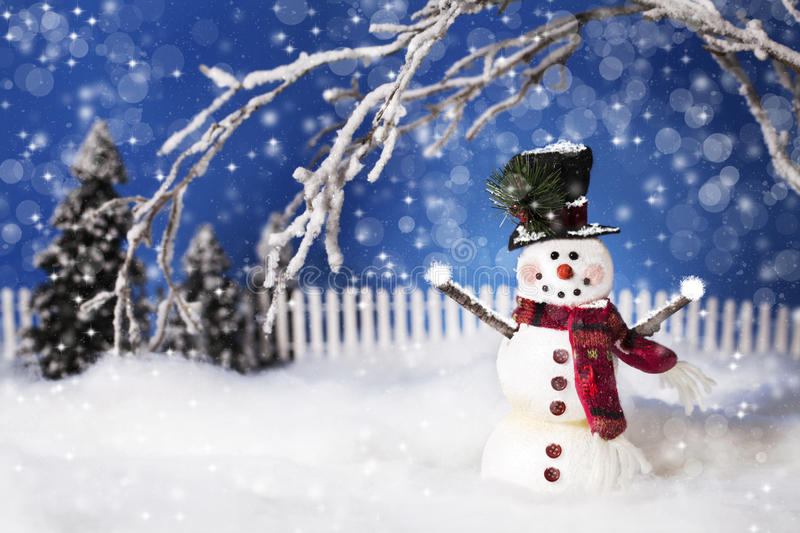 Download Happy Christmas Snowman 2 stock image. Image of bokeh - 46493633