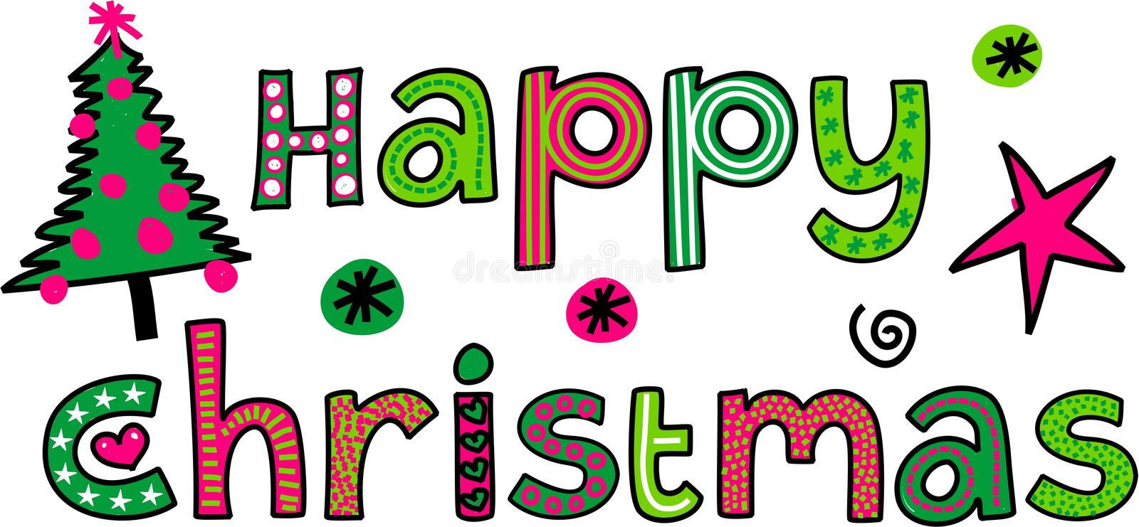 Happy Christmas Text. Hand drawn cartoon whimsical text doodle that reads HAPPY CHRISTMAS stock illustration