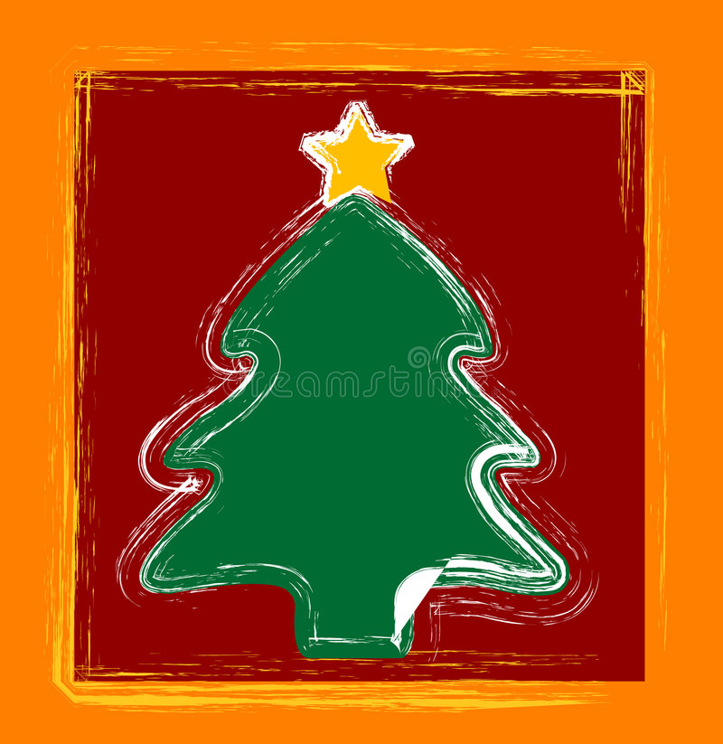 Happy christmas trees royalty free illustration