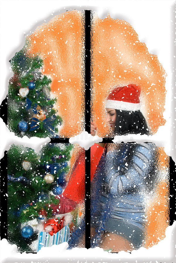 Happy Christmas woman stock image