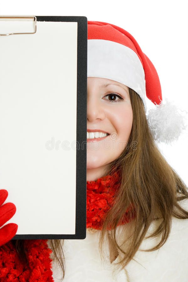 Happy Christmas Woman With Tablet In Hand Royalty Free Stock Photography