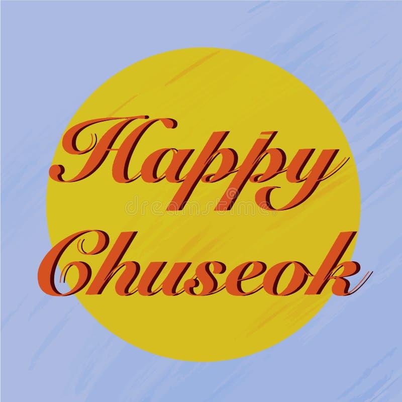 Happy chuseok in cartoon style on purple background. Thanksgiving card. Traditional autumn food. Cartoon flat vector illustration royalty free illustration
