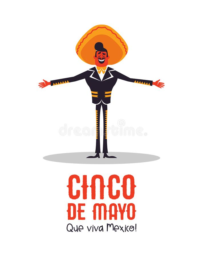 Happy Cinco de Mayo card of mexican mariachi man. Happy Cinco de Mayo greeting card illustration for Mexican independence holiday celebration. Cartoon mariachi royalty free illustration