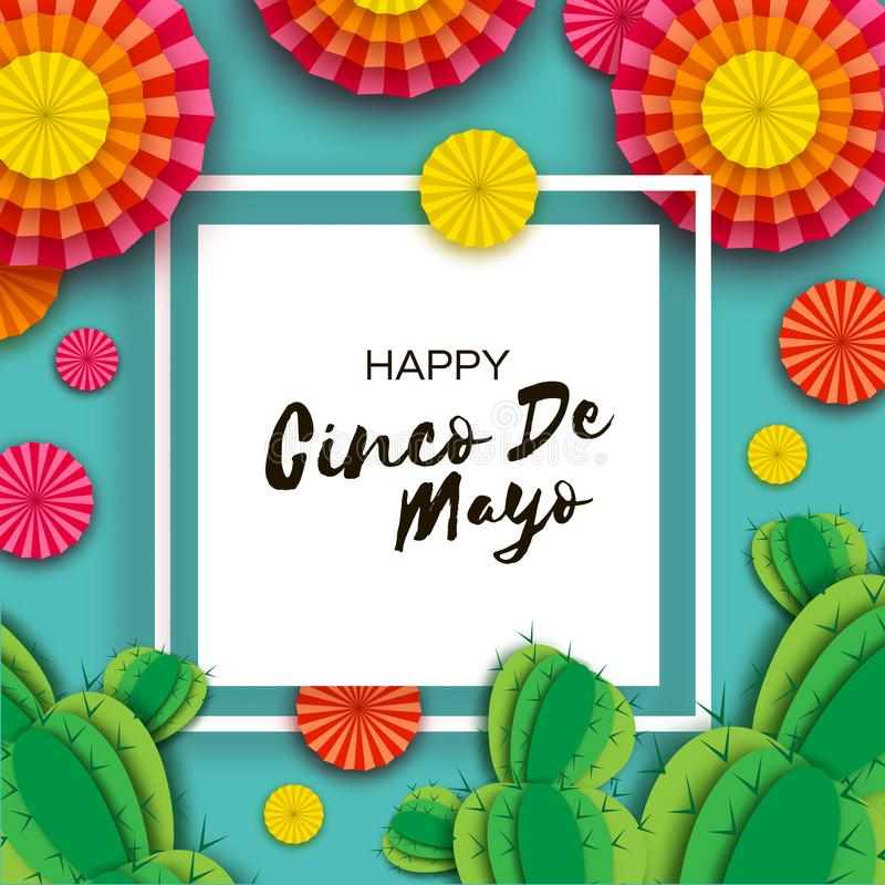 Happy Cinco de Mayo Greeting card. Colorful Orange Paper Fan and Cactus in paper cut style. Mexico, Carnival. Square stock illustration