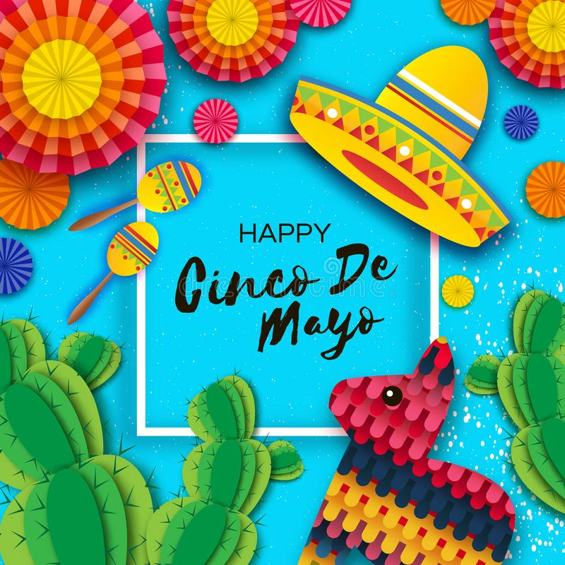 Happy Cinco de Mayo Greeting card. Colorful Paper Fan, Funny Pinata, Maraca and Cactus in paper cut style. Origami royalty free illustration