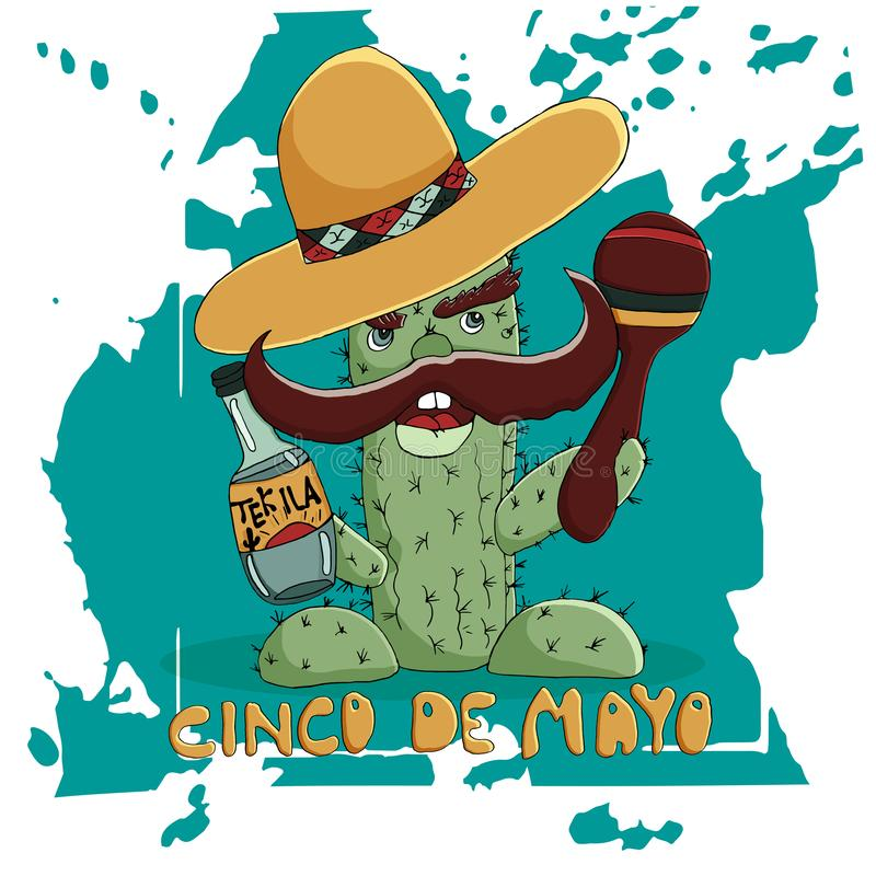 Happy Cinco de Mayo greeting card.  Cactus in a sombrero with  a bottle of tequila vector illustration