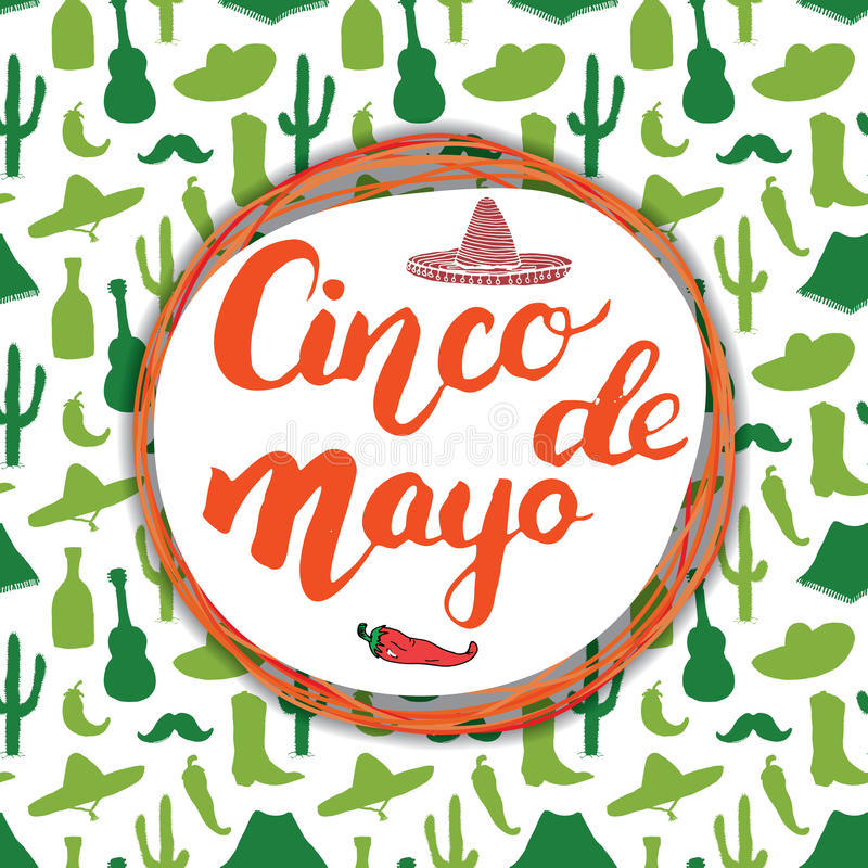 Happy Cinco de Mayo greeting card Hand lettering. Mexican holiday. vector illustration. vector illustration