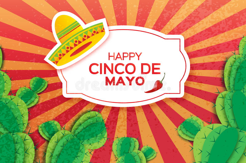 Happy Cinco de Mayo Greeting card. Origami Mexican sombrero hat, succulents and red chili pepper. Rectangle frame stock illustration