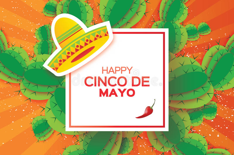 Happy Cinco de Mayo Greeting card. Origami Mexican sombrero hat, succulents and red chili pepper. Square frame royalty free illustration