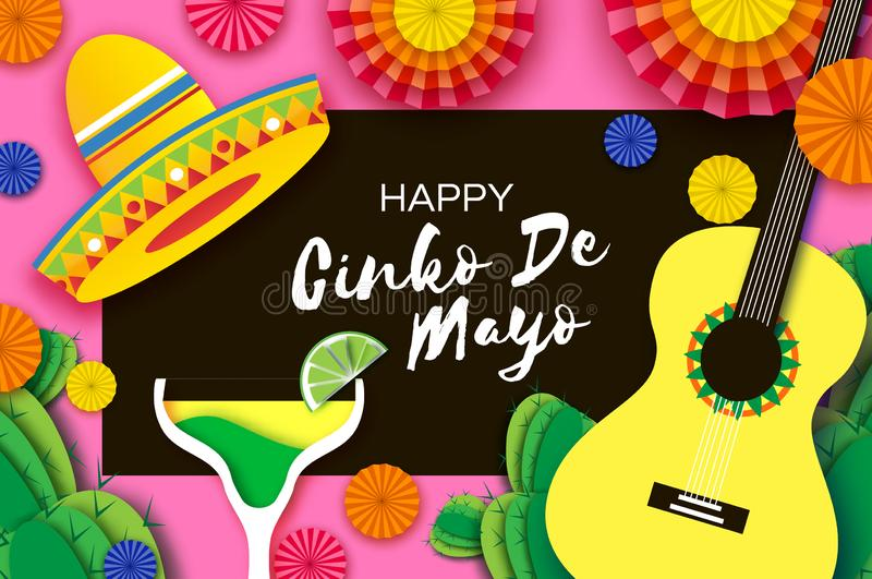 Happy Cinco de Mayo Greeting card. Paper Fan, Funny Pinata, Guitar, Cactus in paper cut style. Margarita Cocktail royalty free illustration