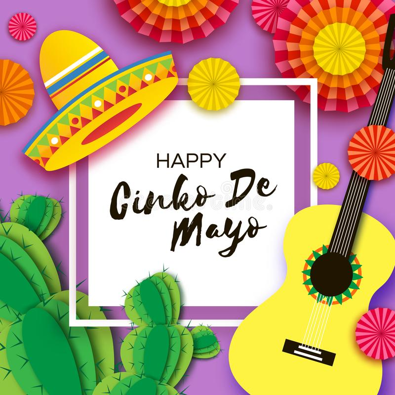 Happy Cinco de Mayo Greeting card. Paper Fan, Funny Pinata, Guitar, Cactus in paper cut style. Origami Sombrero hat royalty free illustration