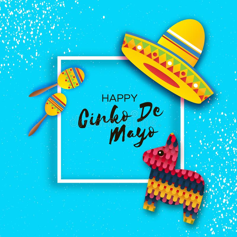 Happy Cinco de Mayo Greeting card. Paper Fan, Funny Pinata, Maraca in paper cut style. Origami Sombrero hat. Mexico stock illustration