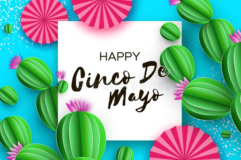 Happy Cinco de Mayo Greeting card. Pink Paper Fan and Cactus in paper cut style. Mexico, Carnival. Square frame on sky stock illustration