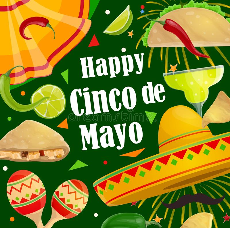 Happy Cinco de Mayo holiday party fiesta fireworks. Cinco de Mayo Mexican holiday celebration fiesta poster of sombrero, mustaches and jalapeno chili pepper vector illustration