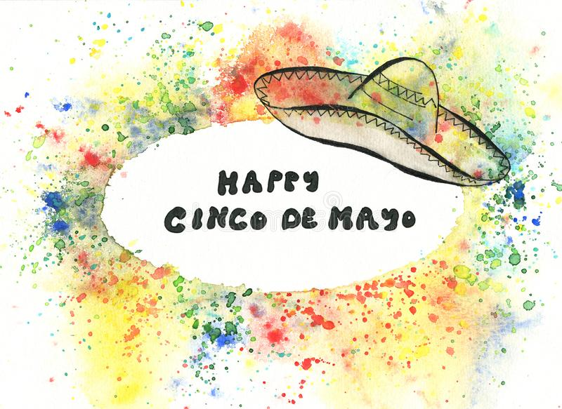 Cinco de Mayo illustration with sombrero and hand lettering vector illustration