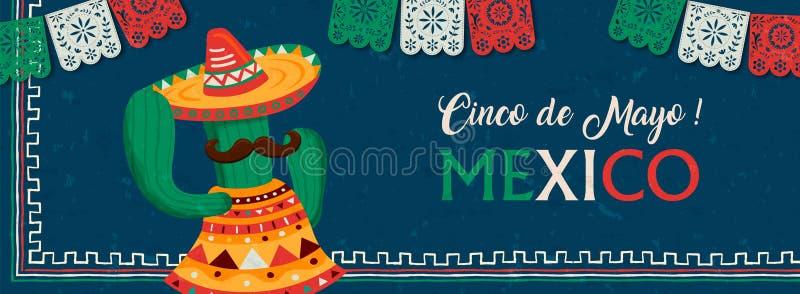 Happy Cinco de Mayo mexican mariachi cactus banner royalty free illustration