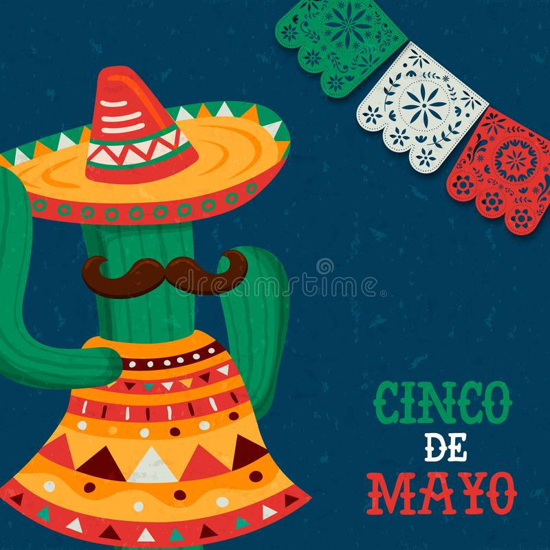 Happy Cinco de Mayo mexican mariachi cactus card. Cinco de Mayo greeting card for Mexico independence celebration. Funny mexican cartoon cactus with mariachi hat royalty free illustration