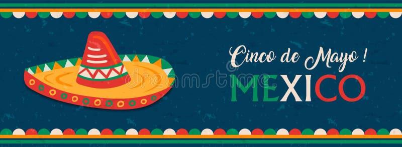 Happy Cinco de Mayo mexican mariachi hat banner. Cinco de Mayo web banner for Mexican independence celebration. Traditional mexico mariachi hat and flag color vector illustration
