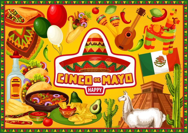Mexican holiday, Happy Cinco de Mayo greetings stock illustration