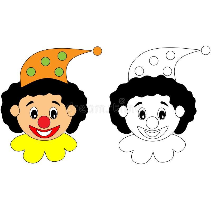 Happy circus clown colouring activity stock illustration