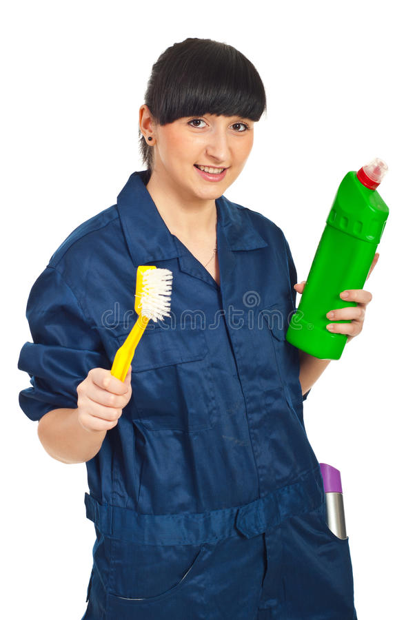 Happy Cleaning Worker Female Royalty Free Stock Photography