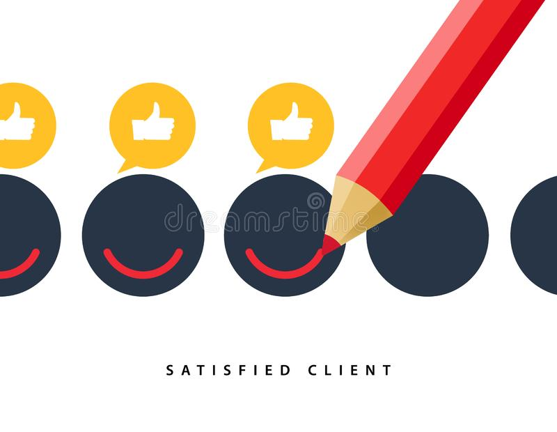 Happy client customer business icon. Feedback client positive sign smile symbol concept illustration.  vector illustration