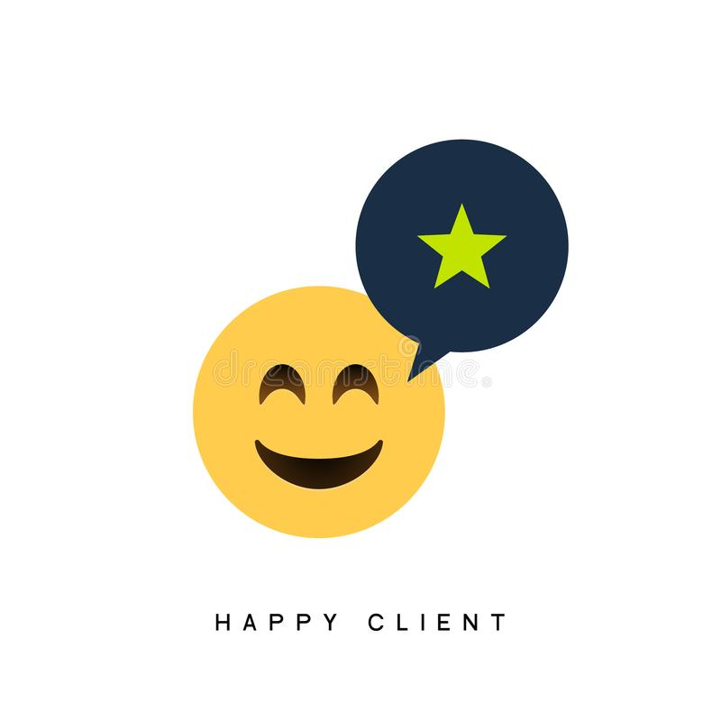 Happy client customer business icon. Feedback client positive sign smile symbol.  vector illustration