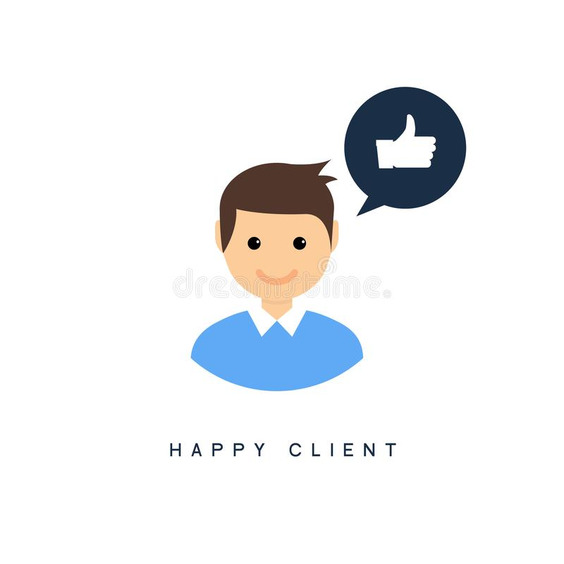 Happy client customer business icon. Feedback client positive sign smile symbol.  royalty free illustration
