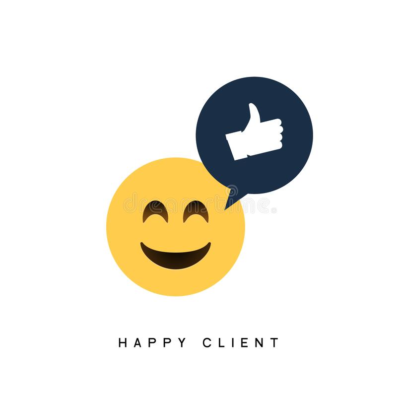 Happy client customer business icon. Feedback client positive sign smile symbol.  stock illustration