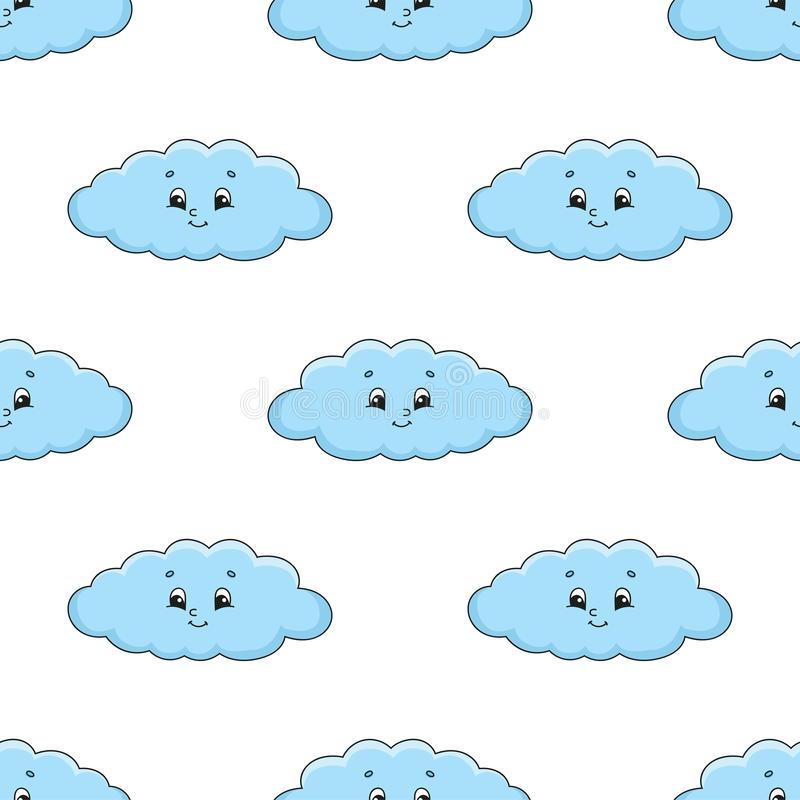 Happy cloud. Colored seamless pattern with cute cartoon character. Simple flat vector illustration isolated on white background. vector illustration