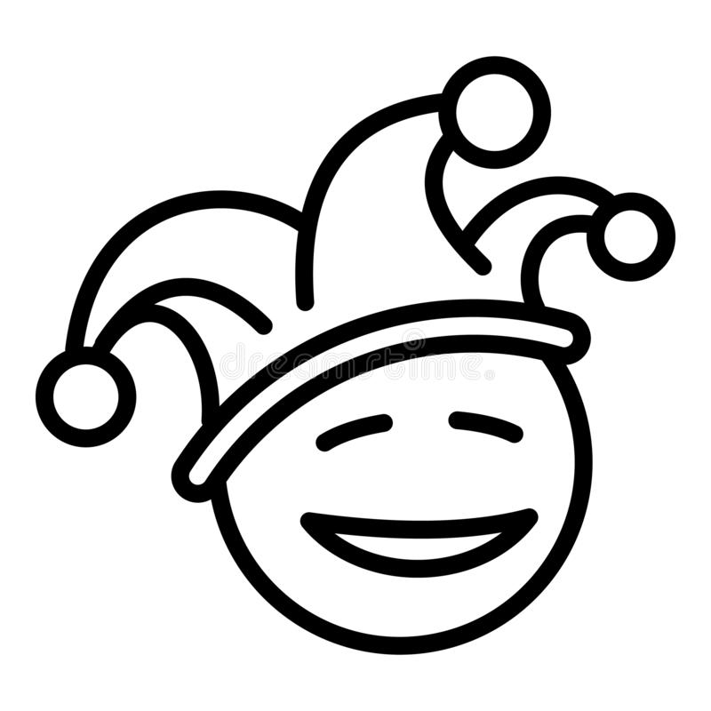 Happy clown face icon, outline style vector illustration