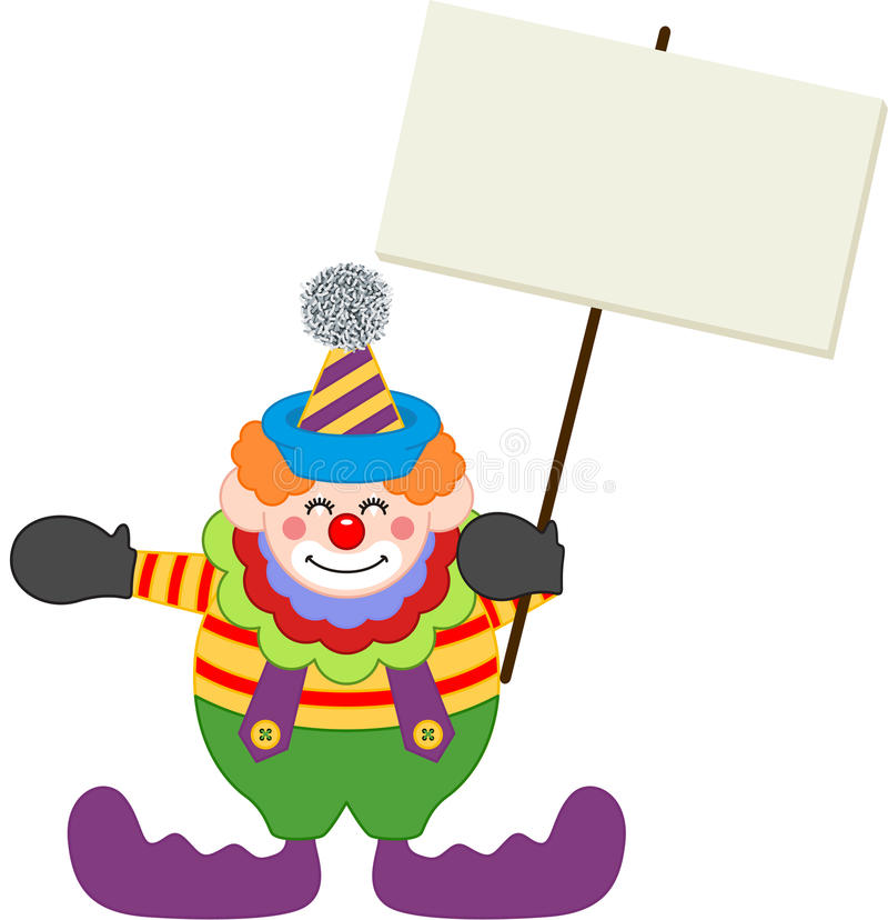 Happy clown holding blank signboard. Scalable vectorial image representing a happy clown holding blank signboard, on white stock illustration