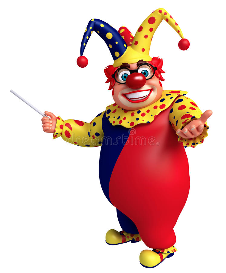 Happy clown with pointing pose. 3D Rendered illustration of clown with pointing pose vector illustration