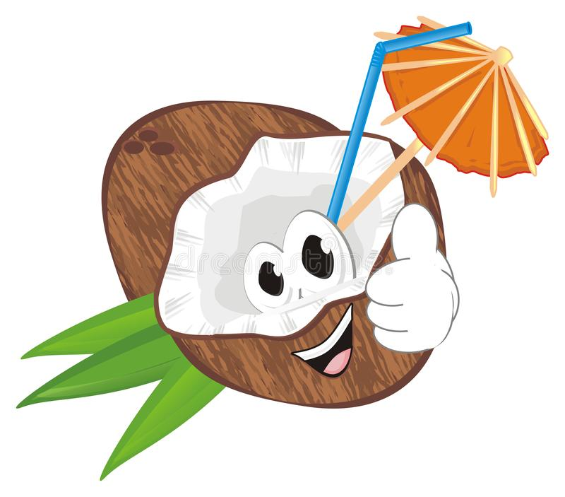 Happy coconut milk. Smiling coconut milk with tube and umbrella show gesture class royalty free illustration